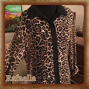 Rafaella Tops - Rafaella Cheetah Print Sheer Button Down Top L