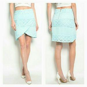 Wapi Dresses & Skirts - SATURDAY SALE {Mint Lace Wrap Skirt}