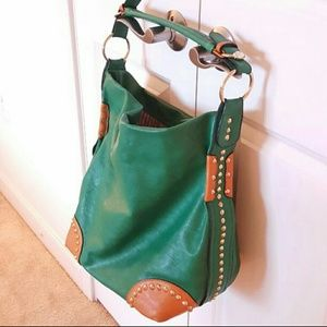 Large green faux leather purse, gold beading