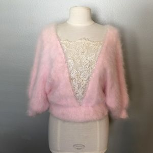 Vintage Fuzzy Pink Sweater with Lace Detail
