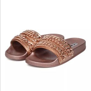 Cape Robbin Shoes - Kendal & kylie inspired rosegold chain slipper