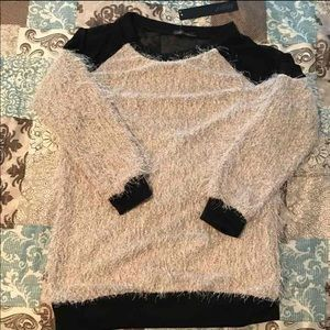 ASOS Sweaters - NWT Sheer mesh back fuzzy long sleeve sweater