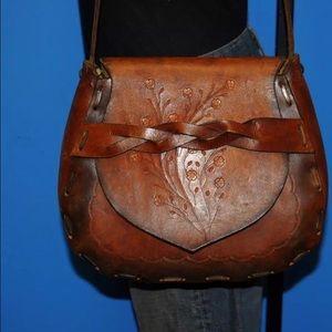 Handbags - 🌷GREAT VINTAGE BROKEN LOOK LEATHER HANDBAG ~EUC~