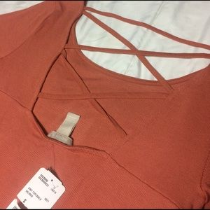 F21 salmon crop top