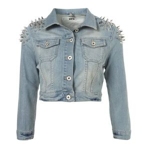 Topshop Moto Spike Shoulder Denim Jean Jacket