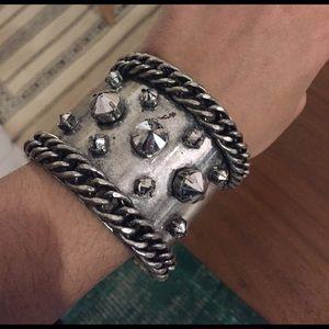 Rock and roll rhinestone chain cuff