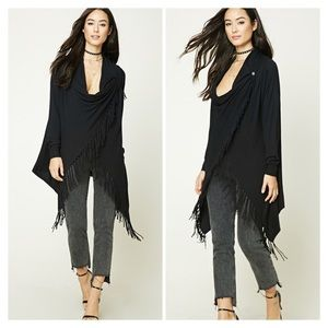 Forever 21 Sweaters - Forever 21 Black Fringed Sweater