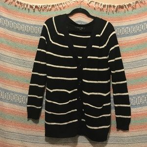 Stripped Knit Cardigan With Pockets