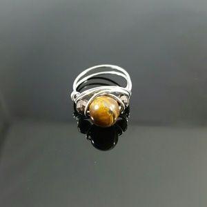 DGwiring Jewelry - TIGER'S EYE & HEMATITE Stone Handmade Ring