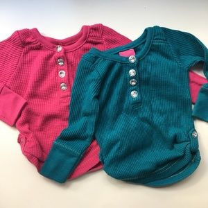 French Toast Other - Two Waffle Knit Bejeweled Henley Tops