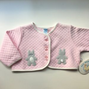 Pink Quilted Bunny Cardigan Sweater