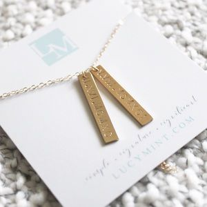 Double Bar Hand Stamped 14k Gold-Filled Necklace