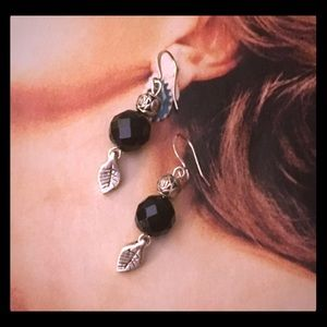 Onyx Rose Earrings