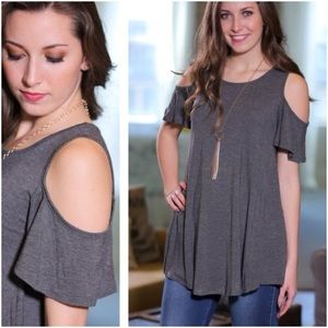 Infinity Raine Tops - Gray Cold Shoulder Tunic