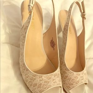 Nine West white with lace heels