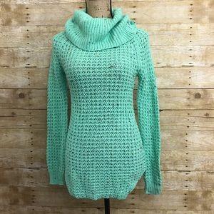 Mint Speckled Turtleneck Sweater