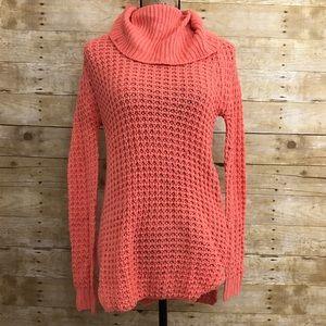 Coral Speckled Turtleneck Sweater