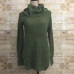Olive Speckled Turtleneck Sweater
