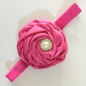 Other - 5 for $20 Pink Satin Flower Headband