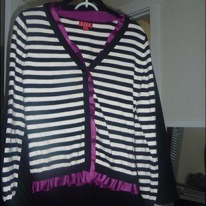 Elle Sweaters - Black & White Striped Cardigan