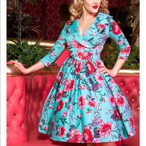 Pin up girl clothing teal 1950's vintage style