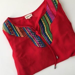 Audrey Ann Tops - Bright sheer tribal blouse