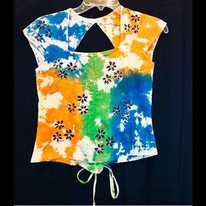 Tie dye midriff blouse