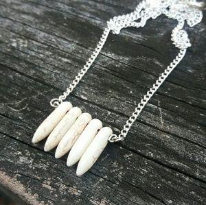 Howlite Gemstone Bar Necklace