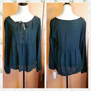 Sonoma Tops - Pretty green embroidered peasant blouse.