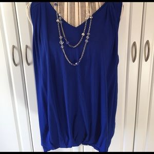 Cable & Gauge Tops - Beautiful blue loose fitting high low style tank