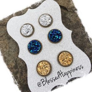 Jewelry - 3 Pair Druzy Stud Earring Set in Bronze Setting