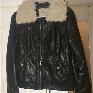 Zara faux leather detachable fur jacket