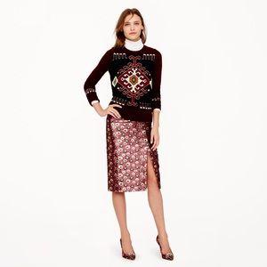 J.Crew Collection skirt in metallic marigold print