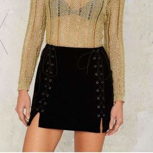 Nasty Gal Velvet Mini Skirt