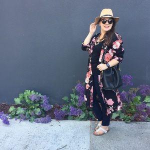 Long Rose Floral Kimono