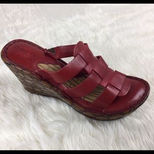 BORN Red Leather Wedge Sandals Sz 9