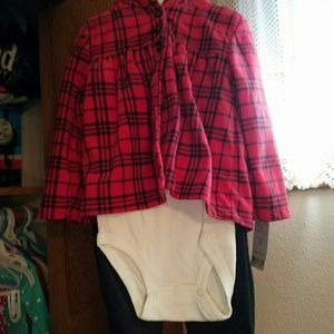 New Carters onesie, jacket and fleece pants