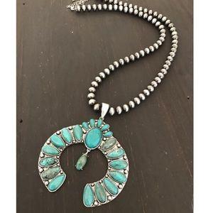 Large Turquoise Squash Blossom Necklace