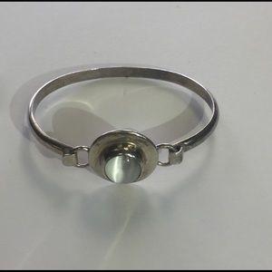 white cat's eye sterling silver hinged bracelet