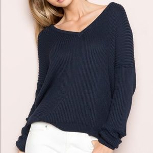 Brandy Melville Sweaters - Brandy Melville  navy v neck sweater