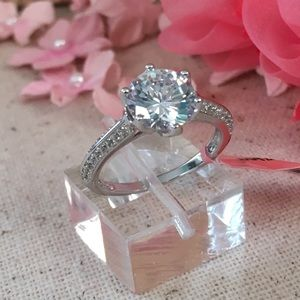 Jewelry - CZ Diamond Sterling Silver Solitaire Ring