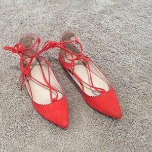 Topshop pointy toe lace up flats
