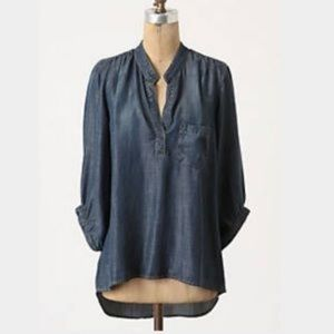 Anthropologie Elevenses Chambray Blouse