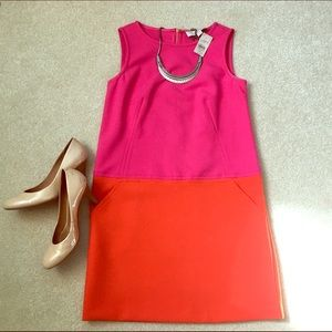 LOFT Dresses & Skirts - Pink & Orange Color Blocked Midi Dress