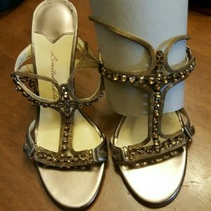 Limited Edition  Shoes - Stunning bronze heeled sandals with embellishments