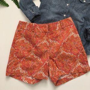 Talbots Pants - TALBOTS Orange Paisley Shorts