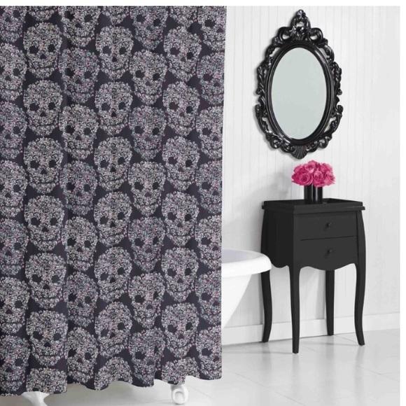 Betsey Johnson Gray Floral Skull Shower Curtain
