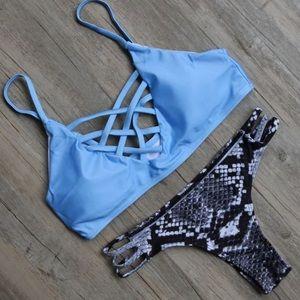 triangl swimwear Other - snakeskin blue cheeky strappy sexy bikini