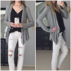 ⭐️LAST 2▫Grey Ribbed Waterfall Spring Cardigan