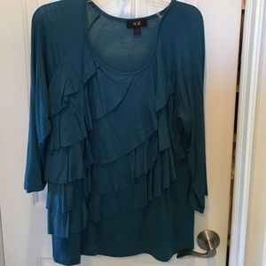 AGB Tops - AGB Ruffled Front 3/4 Sleeved Top